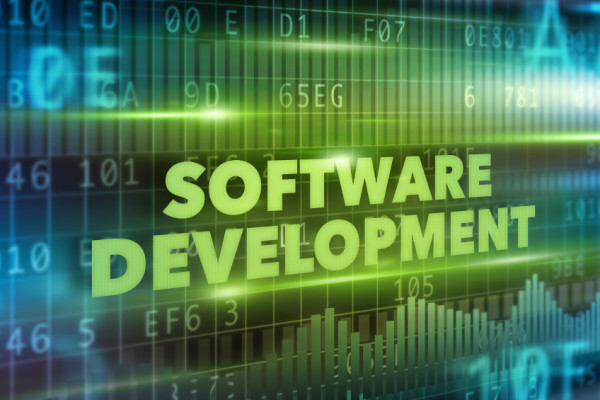 Software development concept green text green background
